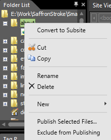 Folder list context menu