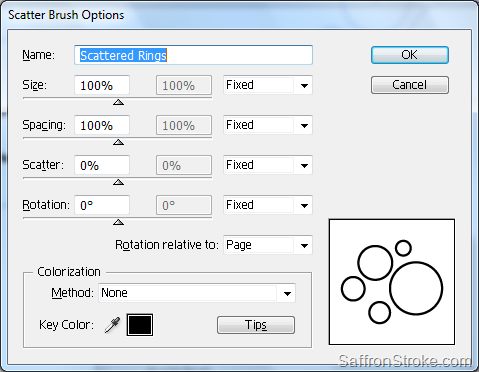 Scatter Brush Options dialog